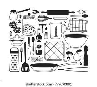 Hand drawn illustration cooking tools. Creative ink art work. Actual vector drawing. Kitchen set