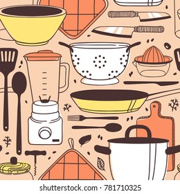 Hand drawn illustration cooking tools. Creative ink art work. Actual vector drawing. Kitchen seamless pattern