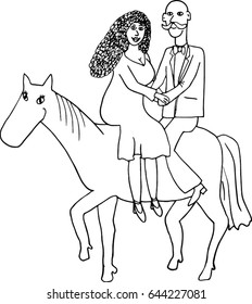 """Hand drawn illustration """"Couple on the horse"""""""