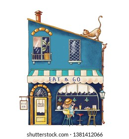 Hand drawn illustration of cute cartoon bistro cafe