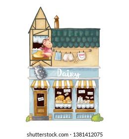 Hand drawn illustration of cute cartoon dairy shop