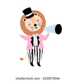 Hand drawn illustration with cute circus lion ringmaster.