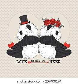 hand drawn illustration cute panda 260nw 207400174