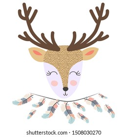 Hand drawn illustration of a cute tribal deer in headband with feathers. Scandinavian style flat design. Concept for children print.