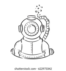 Hand drawn illustration diver retro vintage. Idea for a t-shirt, poster, signs.