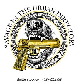 hand drawn illustration of a dog which bites a golden gun  with slogan and graphic element