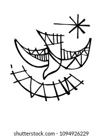 Hand drawn illustration or drawing of a Christian symbol of the Holy Spirit