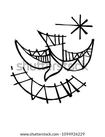 Hand Drawn Illustration Drawing Christian Symbol Stock Vector