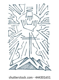 Hand drawn illustration or drawing of The Holy Trinity religious symbol