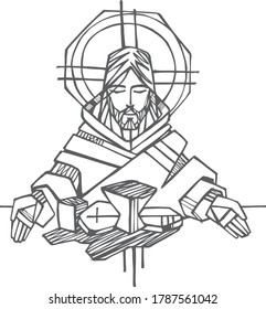 Hand drawn illustration or drawing of Jesus Christ at the Last Supper