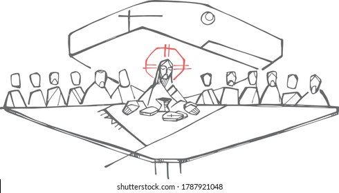 Hand drawn illustration or drawing of Jesus Christ and disciples at the last supper