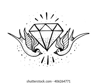Hand drawn illustration or drawing of a pair of swallow birds and a diamond