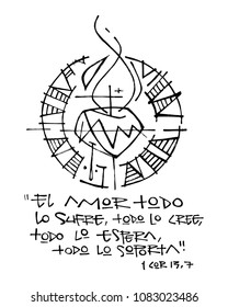 Hand drawn illustration or drawing of a religious phrase in spanish that means: Love suffers all, believes all, waits all, stands for all