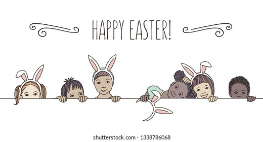 Hand drawn illustration for Easter - diverse children with bunny ears, peeking behind a horizontal line  - Vector