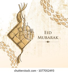Hand drawn Illustration of Eid Mubarak islamic design Traditional Food means Ketupat and mosque with circle arabic pattern on Grunge Background