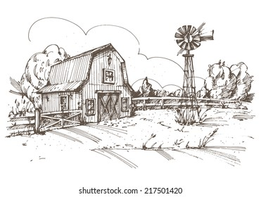 Hand drawn illustration of farmhouse. EPS 10. No transparency. No gradients.