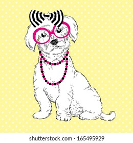 Hand Drawn Illustration of Fashion Doggy in striped bow, pink glasses and chaplet isolated on polka dots background