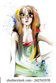 Hand drawn illustration with a fashion girl. Vector image