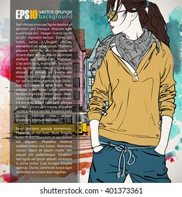 Hand drawn illustration of fashion girl in sketch style. Place for text. Vector