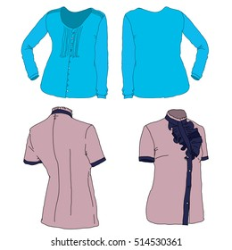 Hand drawn illustration. fashionable clothes. female blouse. casual wear