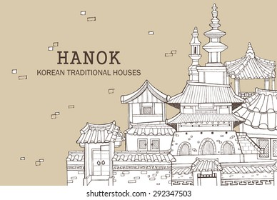 Hand drawn illustration featuring traditional houses and buildings called Han-ok. Korean style architecture of palace, city wall, ramparts and tower.