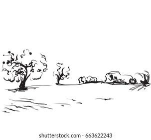 Hand drawn illustration of a fields. Cartoon landscape sketch