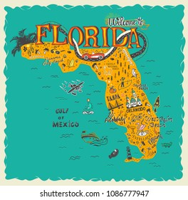 Hand drawn illustration of Florida map  with tourist attractions. Travel concept.