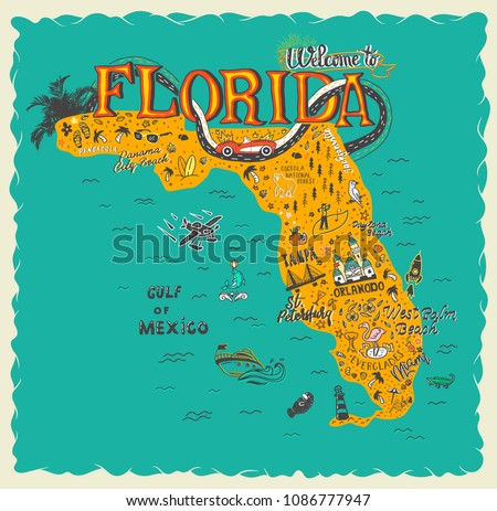 Map Of Florida Tourist Areas.Hand Drawn Illustration Florida Map Tourist Stock Vector Royalty