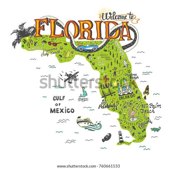 Hand Drawn Illustration Florida Map Tourist Stock Vector Royalty