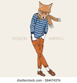 Hand drawn illustration of fox dressed up in casual style
