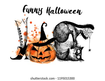 Hand drawn illustration of funny cats and Halloween elements