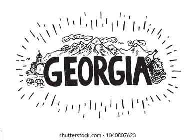 Hand drawn illustration of Georgia country with mountains, church, wine, khachapuri. Georgia drawing travel sketch with name.