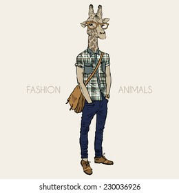 Hand drawn illustration of giraffe hipster