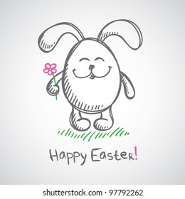 hand drawn illustration with gray easter bunny