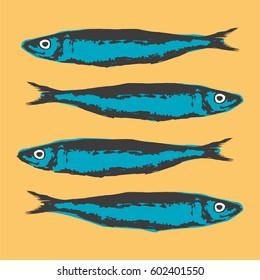 Hand Drawn Illustration a Group of sardines, Sardina pilchardus, on yellow background