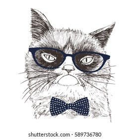 Hand drawn Illustration of Grumpy Cat with glasses and bow tie