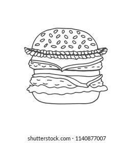 Hand drawn illustration of hamburger. Hand drawn illustration