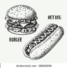 Hand drawn illustration of hamburger and hotdog.Set fast food.