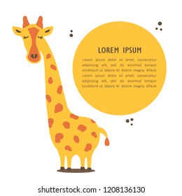 Hand drawn illustration, happy giraffe and place for your text here. Colorful background vector. Poster design with animal, english text. Animal who speak, card. Decorative backdrop, good for printing