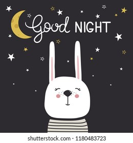 Hand drawn illustration with happy rabbit, moon, stars and lettering. Colorful cute background vector. Good night, poster design. Backdrop with english text, animal. Funny card, phrase
