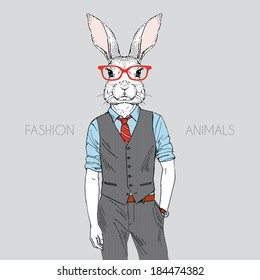 Hand drawn illustration of hare dressed up in office style