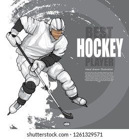 hand drawn illustration of hockey player. drawing vector. winter sport background. poster design.