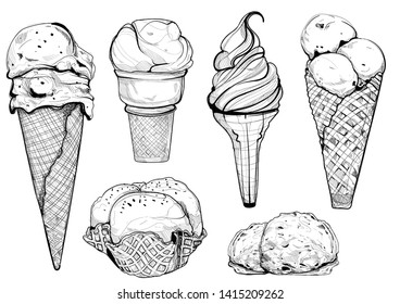 hand drawn illustration of Ice cream cones set in vintage style. Isolated on white background.