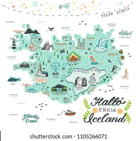 Hand drawn illustration of Iceland map with tourist attractions. Travel  concept. Hallo (icelandic language) -  Hello.