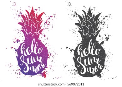 Hand drawn illustration of isolated black and color pineapples silhouette on a white background. Typography poster with lettering inside with ink splashes. The inscription Hello summer