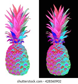 Hand drawn illustration of isolated pineapple fruit silhouette on a white and black background. This illustration can be used for coloring book for adult, logo, t shirt design, flyer, tattoo and more.