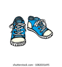 Hand drawn illustration with isolated shoes. Baby boots in hand drawn graphic for logo, poster, postcard, fashion booklet. Grunge sketch with sneakers. Vector fashion illustration of blue shoes.