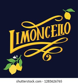 Hand drawn illustration of italian liquor Limoncello. Perfect for souvenir products  bottle, t-shirt, apron. Made in vector.