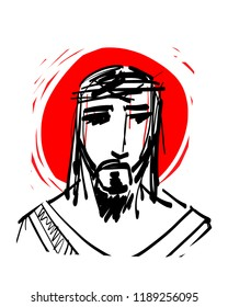 Hand drawn illustration of Jesus Christ Face