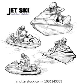 Hand drawn illustration of Jet ski set